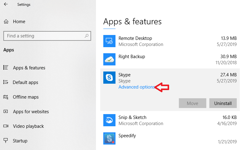 Select Advanced Options of Skype