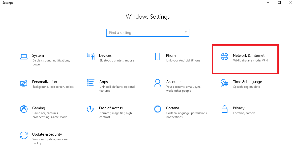 Select Window Network and Internet Setting