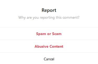 Select reason of report
