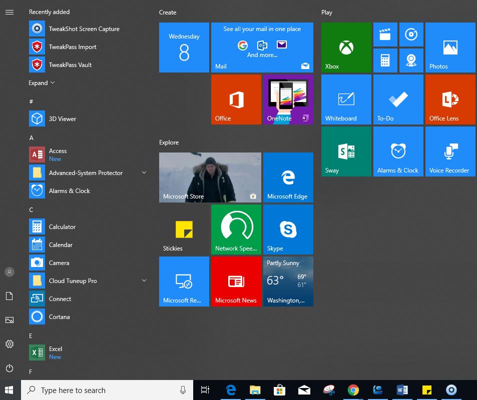 Start menu - Upgrade windows 7 to 10
