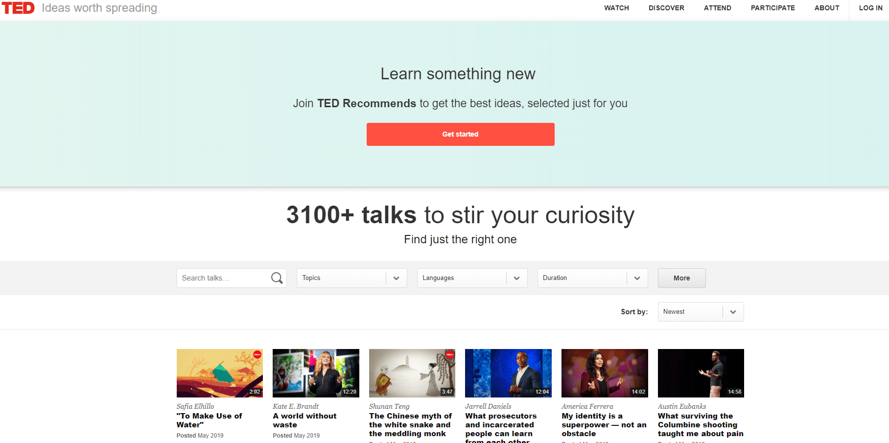 TED Talks - Video Sharing Site