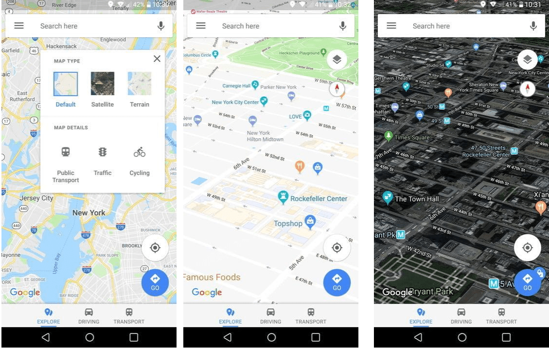 change view in google maps