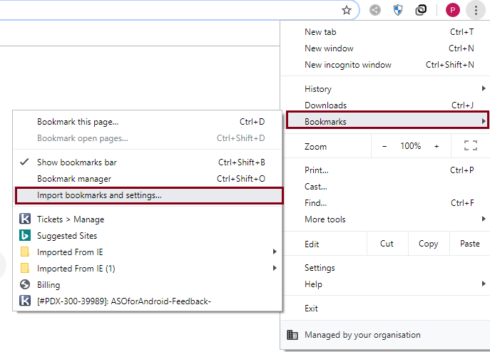 click on Import bookmarks and settings