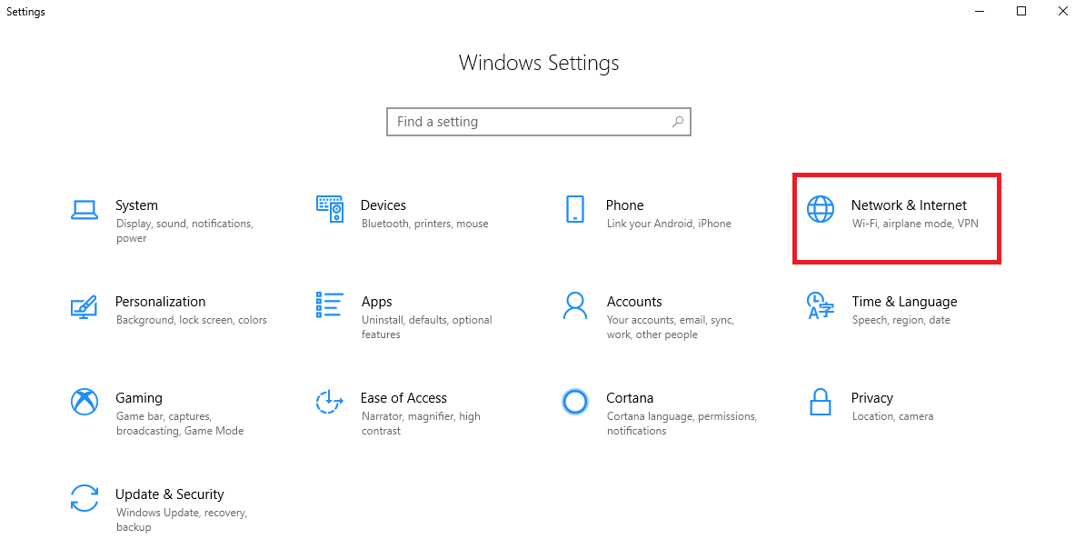 click on Network and Internet of Windows Setting