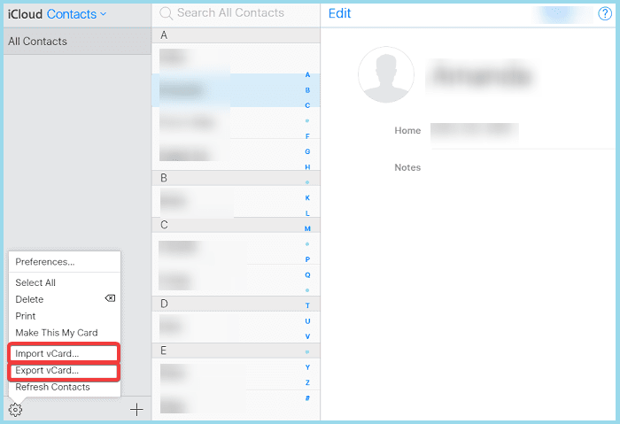 export vcard from icloud contacts