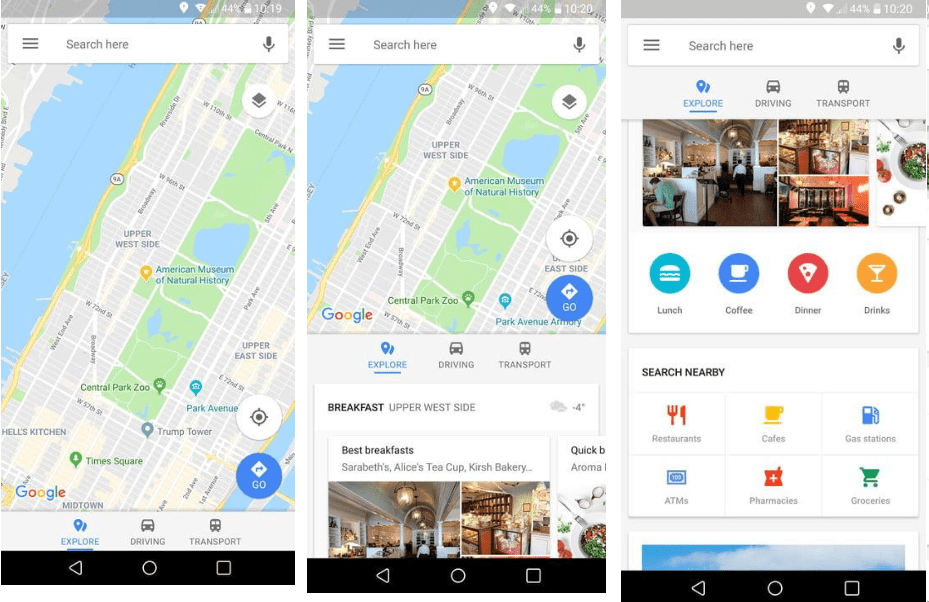 find nearby places on google maps