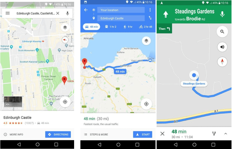 get directions in google maps