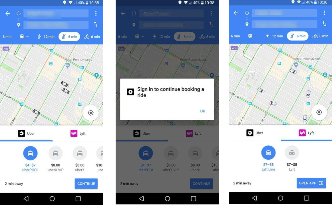 get ride using Google Maps