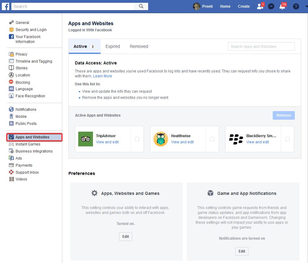 head to facebook settings