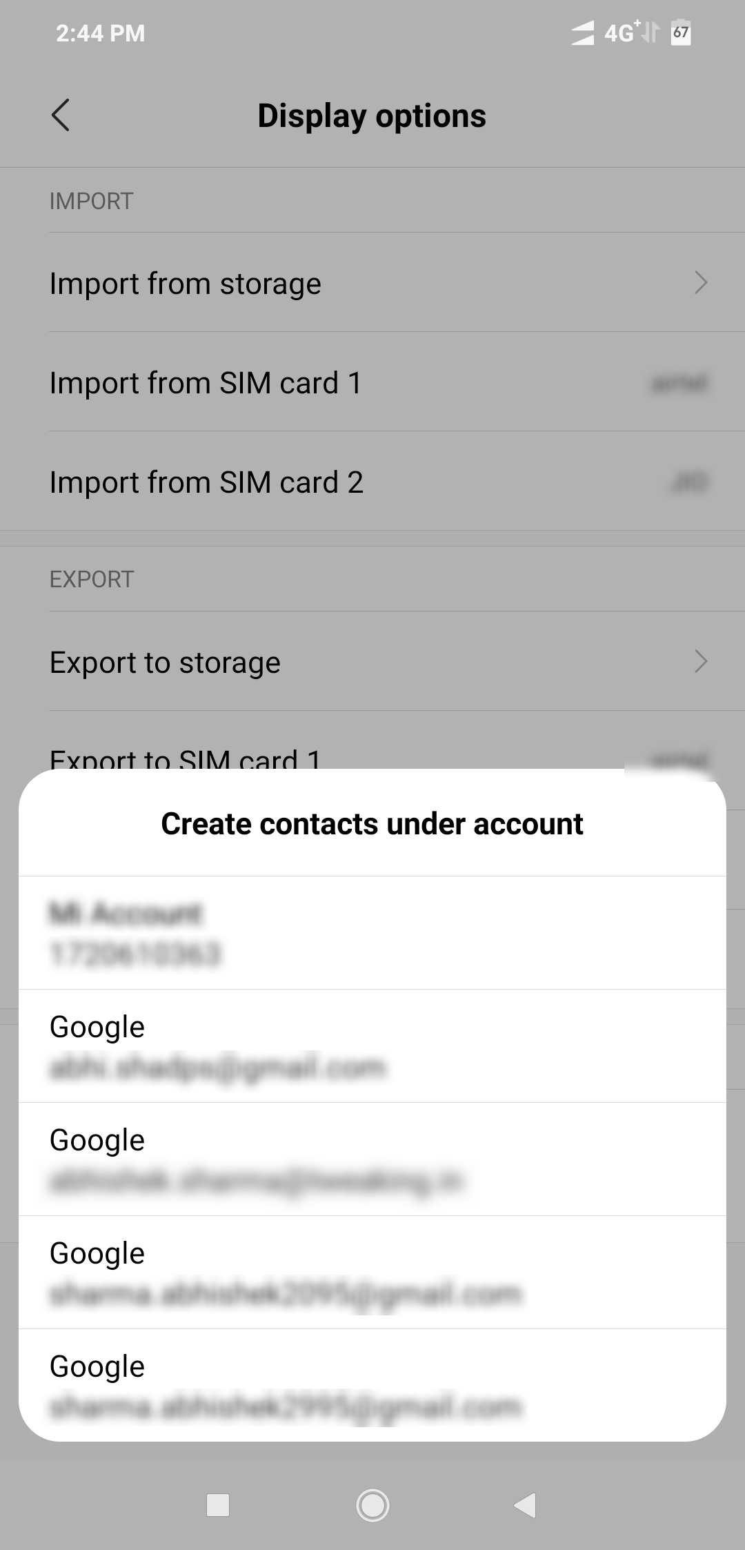 import contacts from Google account