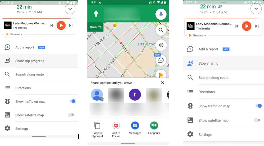 trip progress using google maps