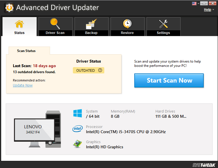 updates driver with Advanced Driver updater