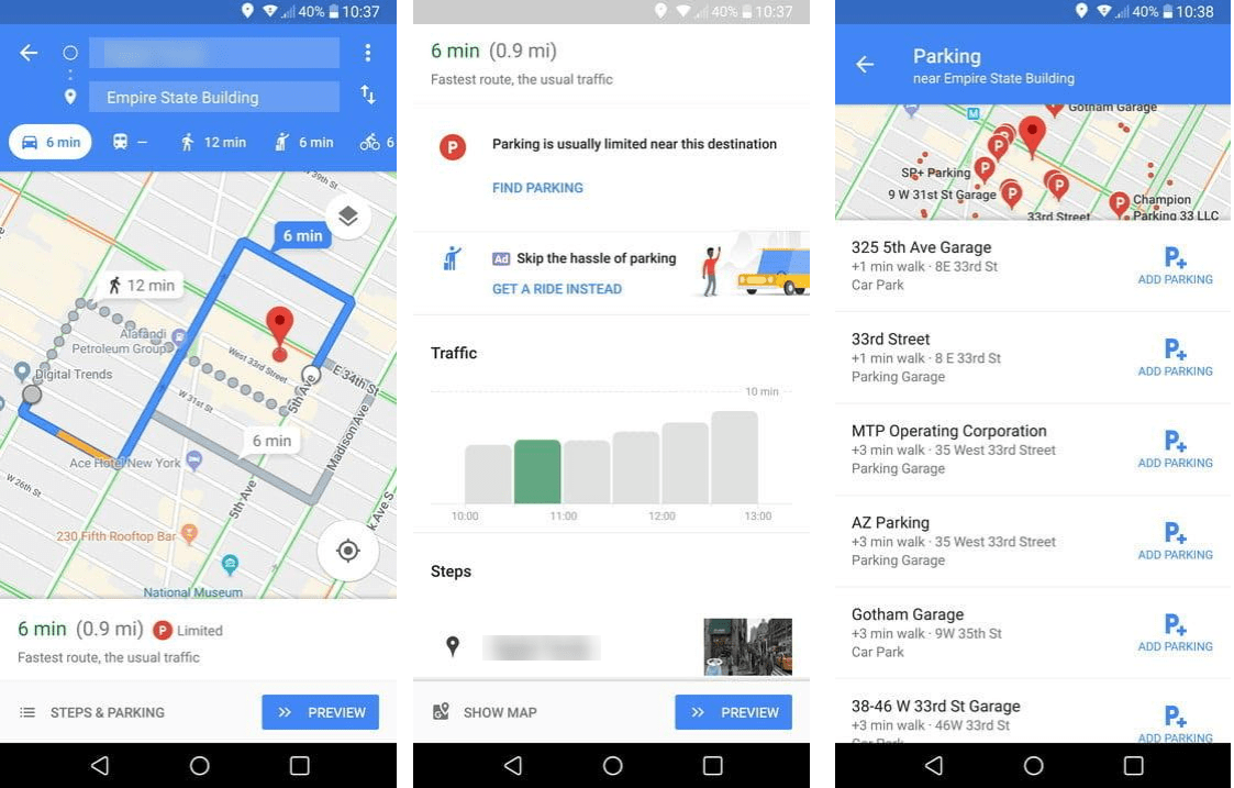 use google maps for parking