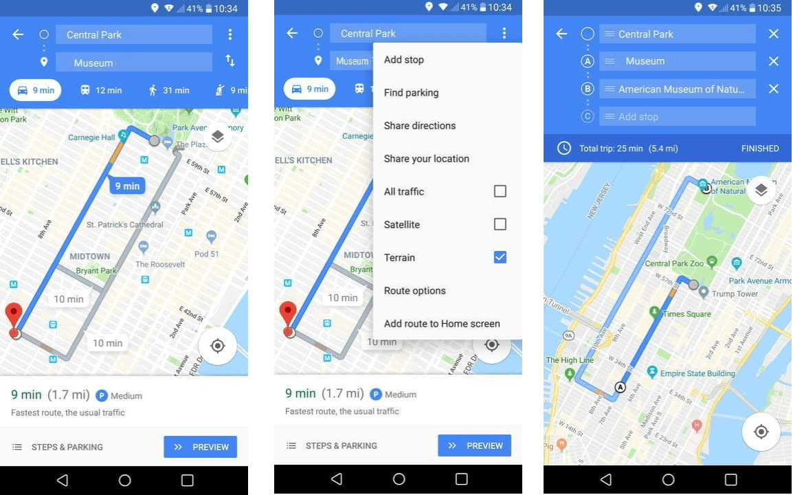 use google maps to see direction for various placed