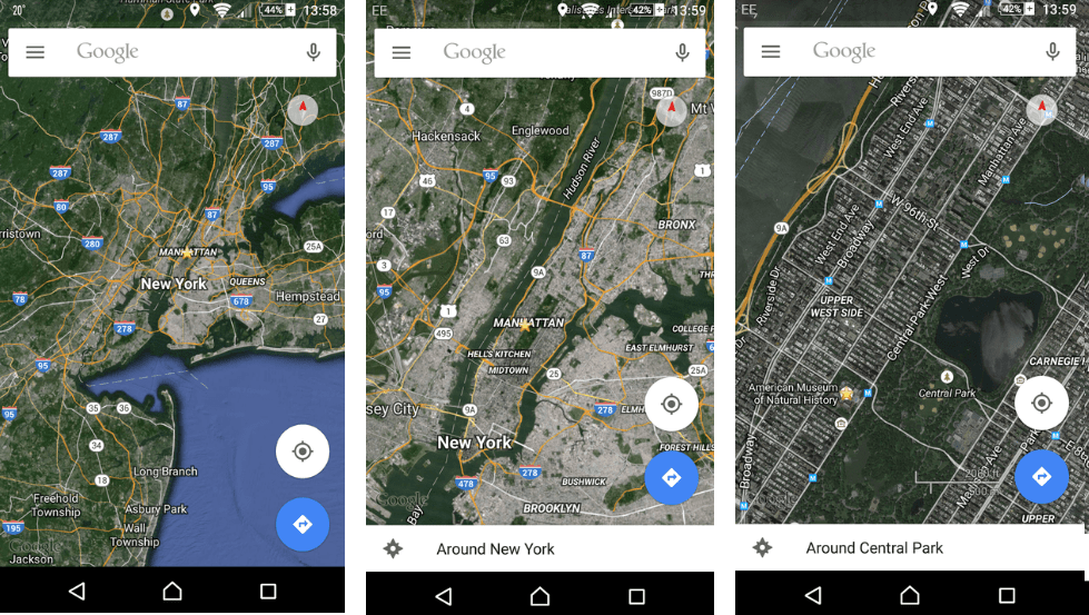 zoom one handed on google maps