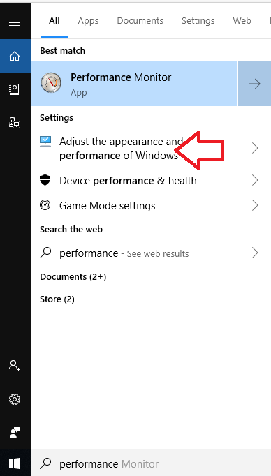 Adjust the appearance and performance of Windows