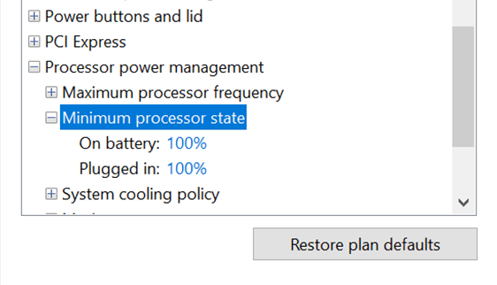 CPU settings for Maximum CPU Power Usage