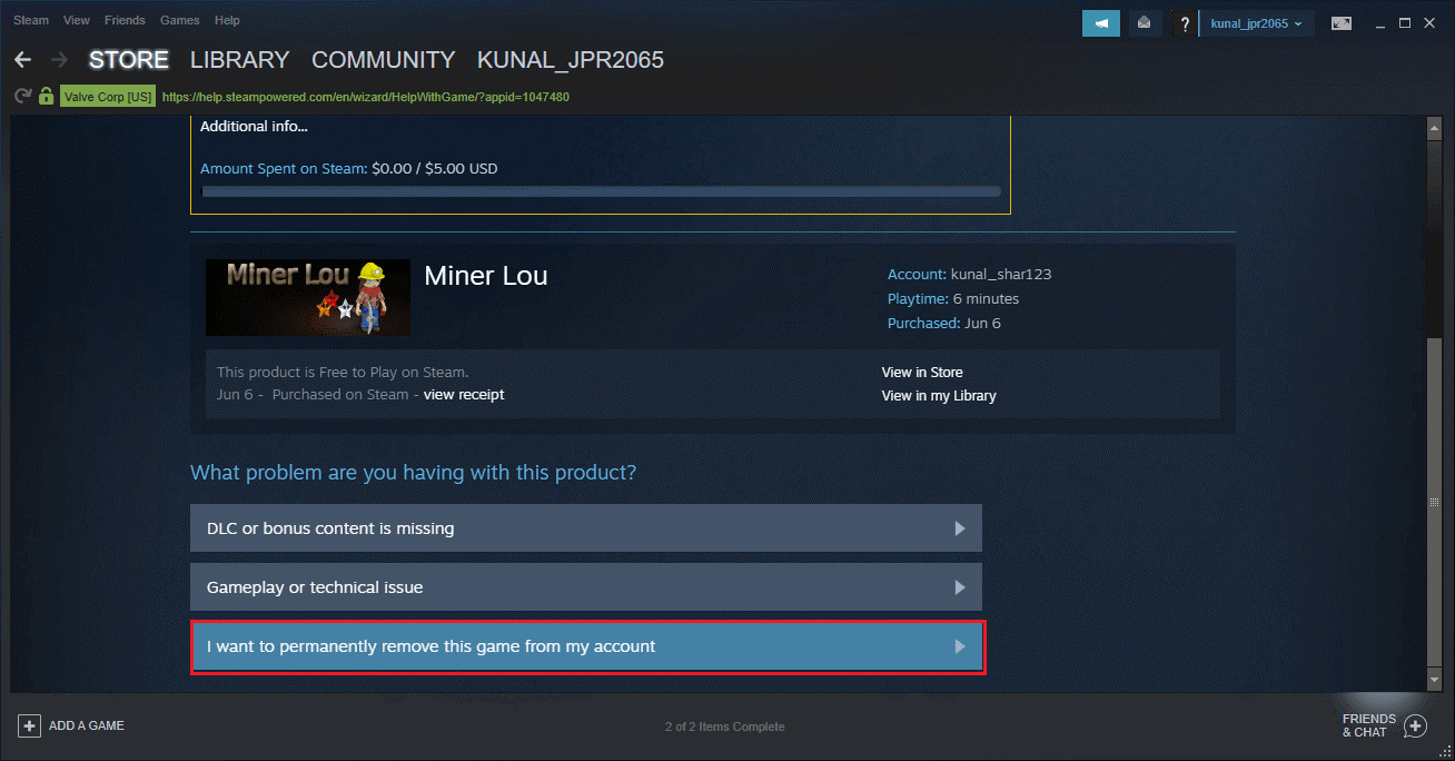 Choose permanently remove this game option