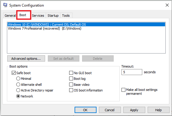 Click on Boot tab of system configuration