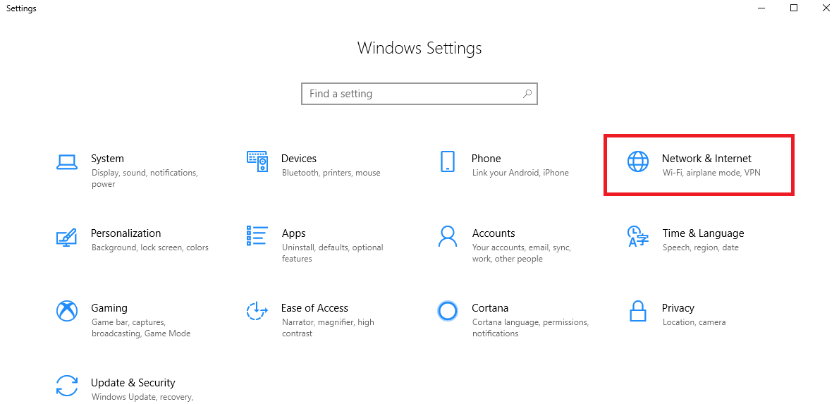 Click on network and internet setting in windows