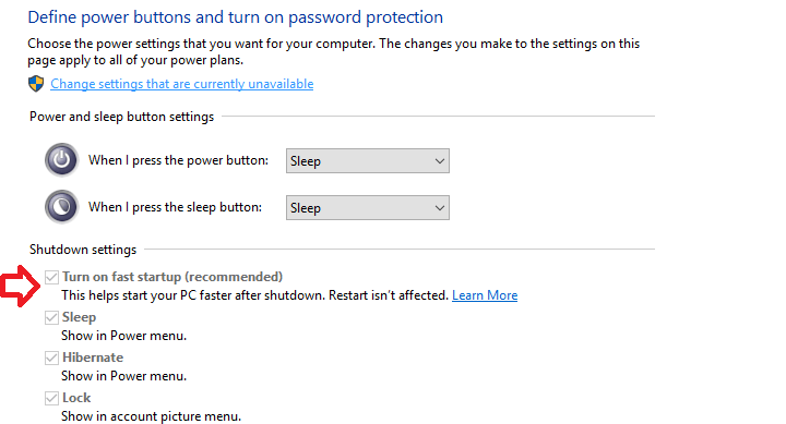 Define Power buttons and turn on password protection