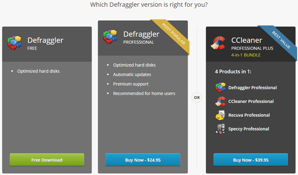Defraggler versions