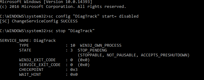 Disable Diagnostic Tracking