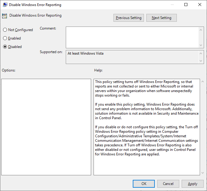 Disable Windows Error Reporting