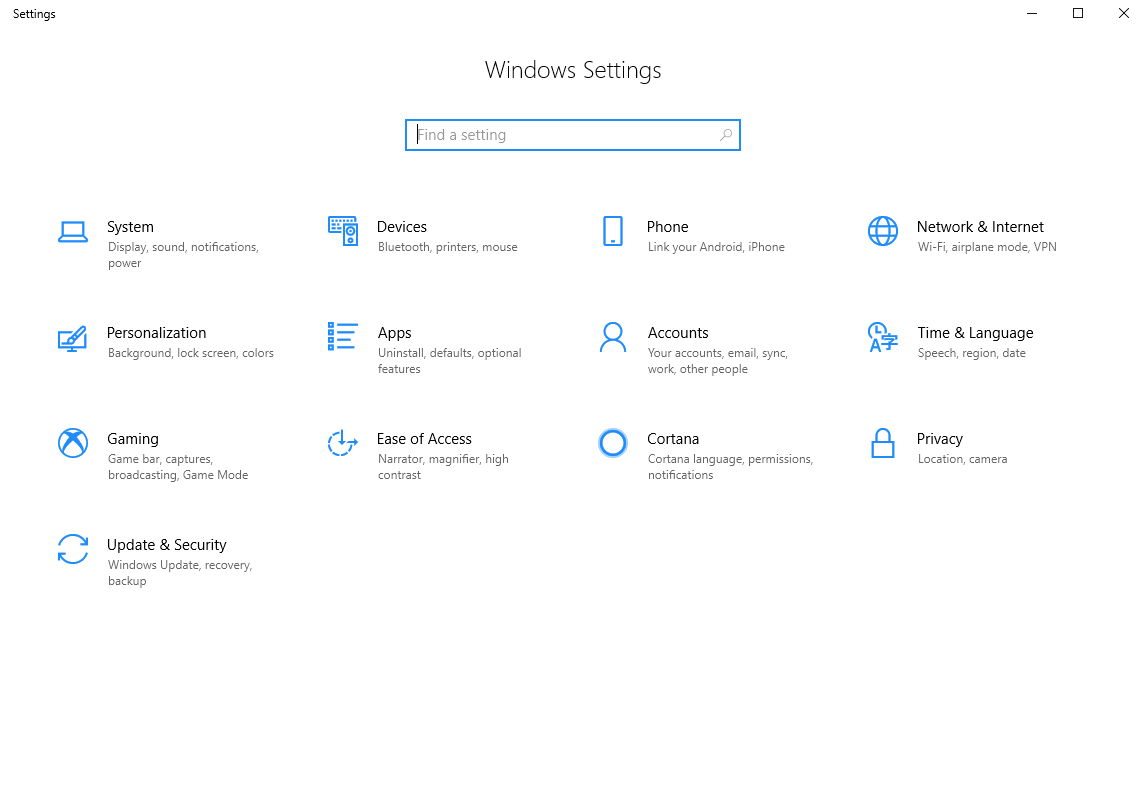 Go to the windows Setting