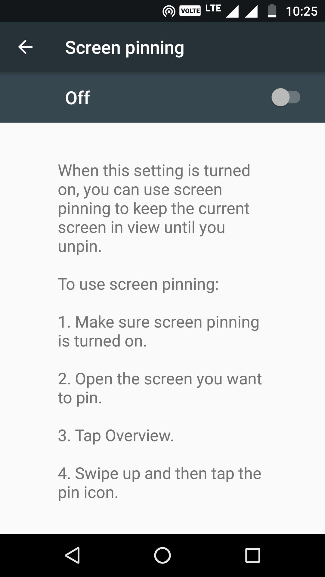 Manage screen pinning