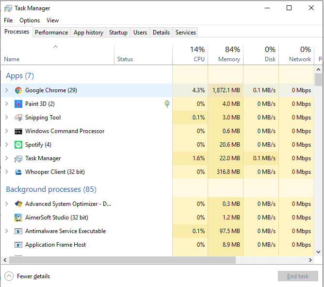 Open Task Manager on Windows