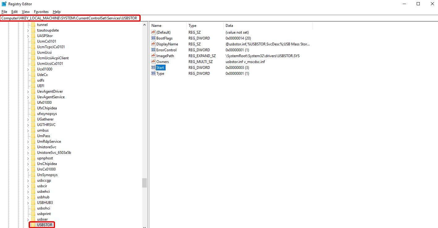 Registry key_USBSTOR