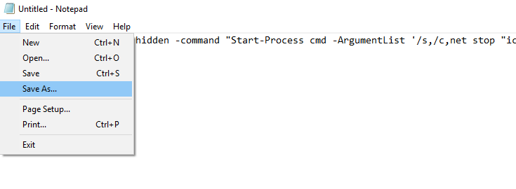 Save Command code on notepad