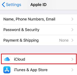 Tap on iCloud