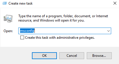 Type msconfig in New task