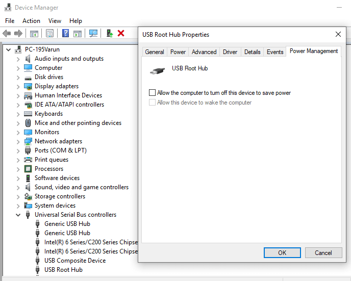 USB Root Hub properties window