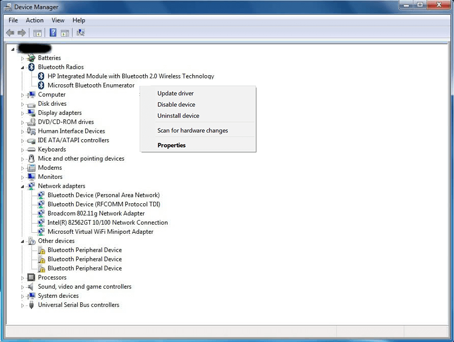 Updating Bluetooth driver using Device Manager