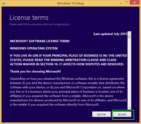 Windows 10 Setup - License Terms