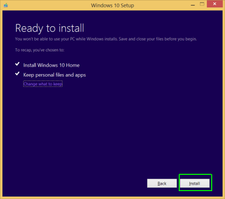 Windows 10 Setup - Ready to Install