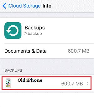 iCloud storage Info Backup