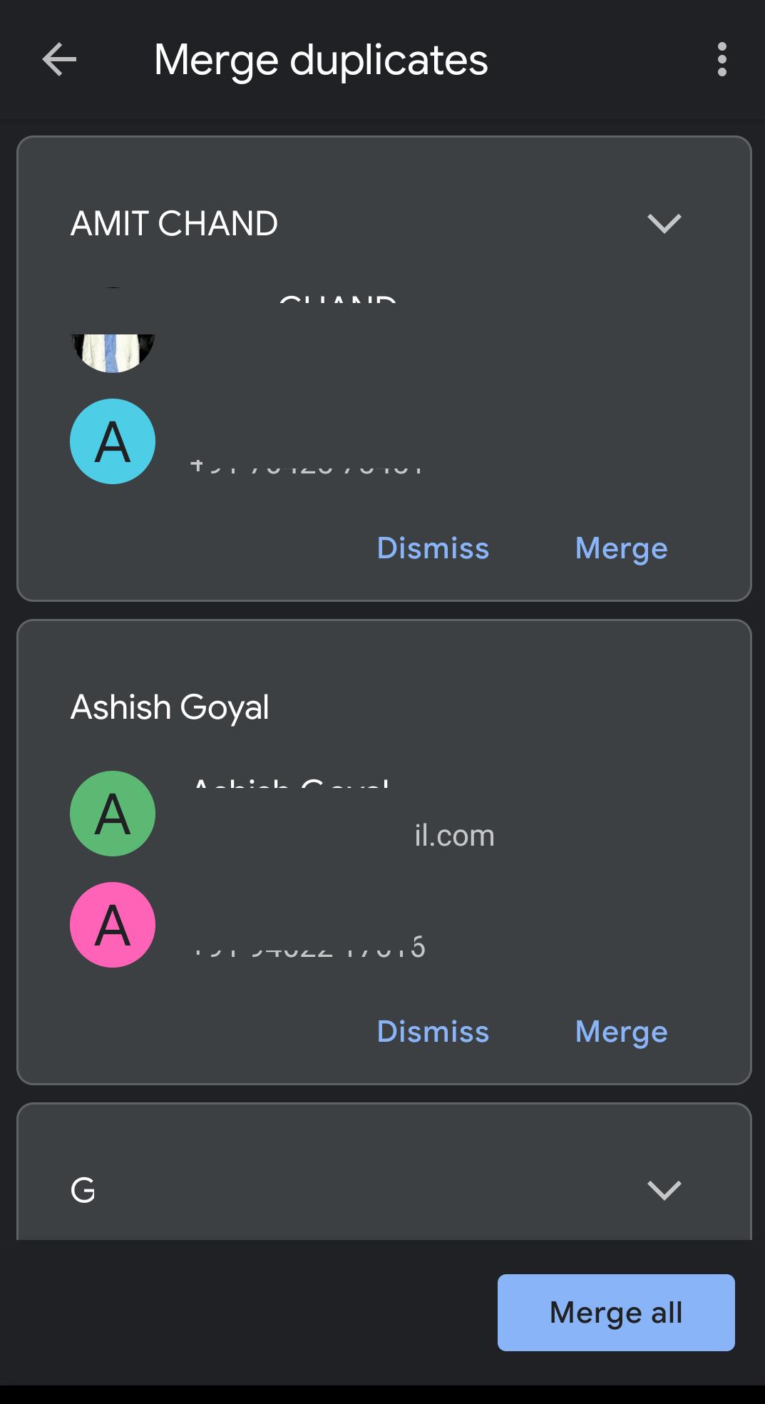 individual duplicate contact