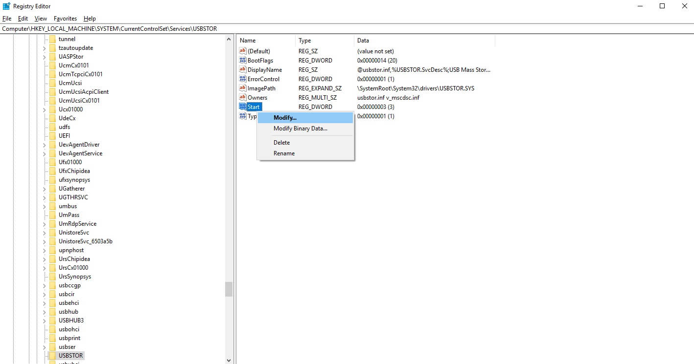 registry editor_Modify_enable & disable USB Port