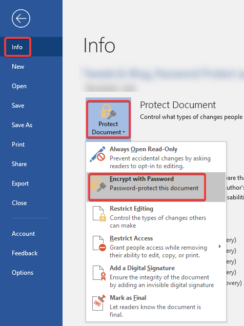 set password for word document