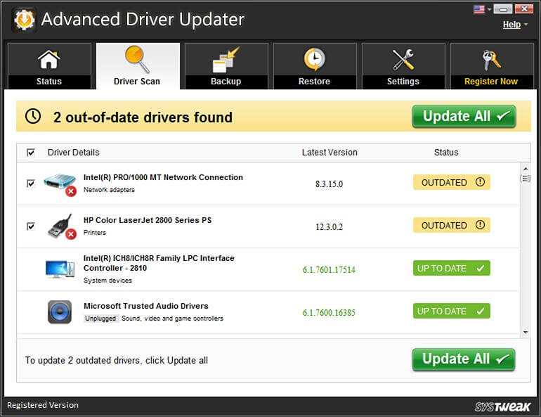 Advanced driver updater console