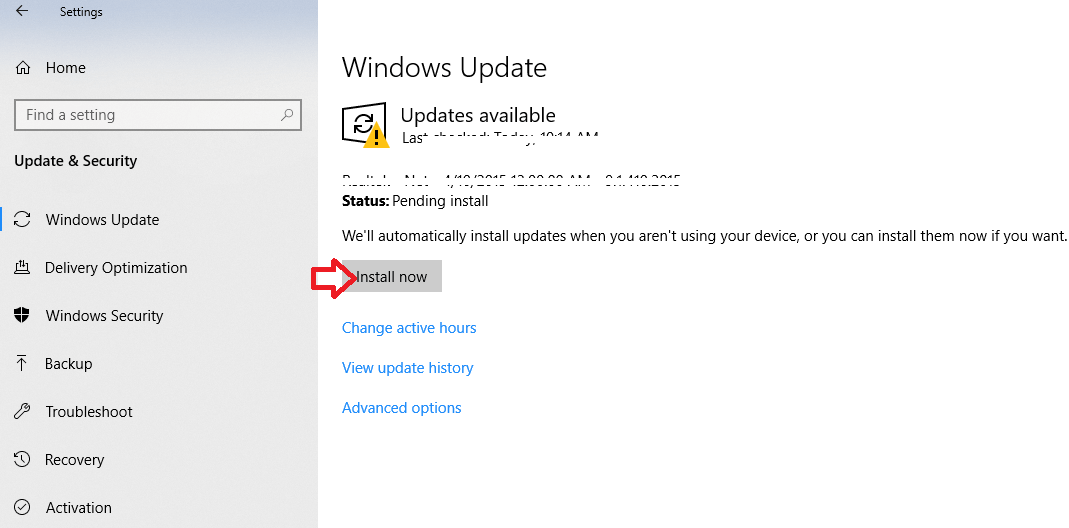 Click on Install Now to install the Updates Manually