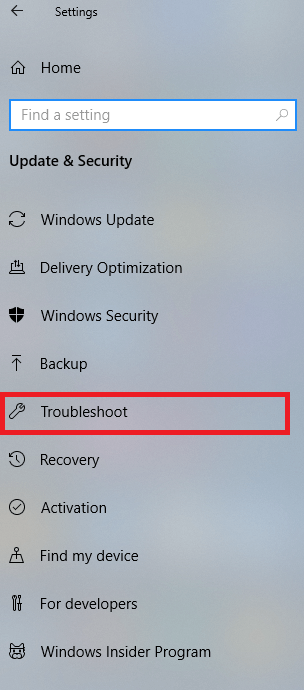 Click on Troubleshoot