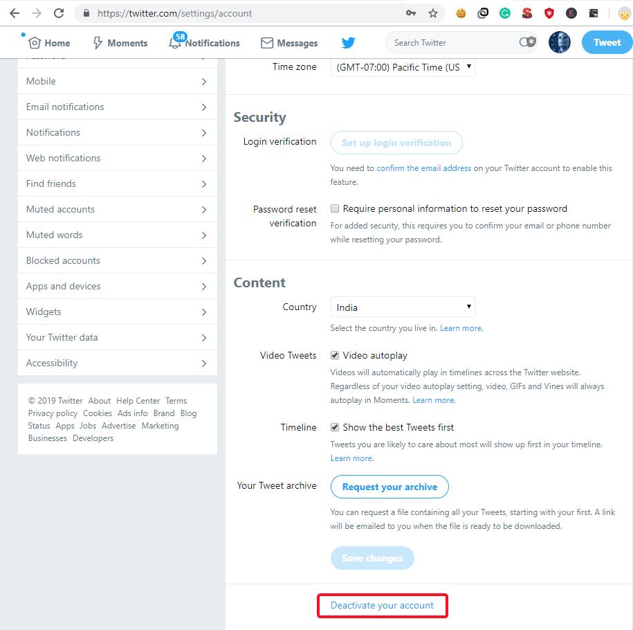 Deactivate Twitter Account