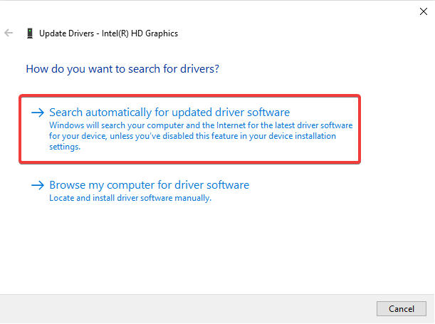 Device Manager - search automatically for updated driver