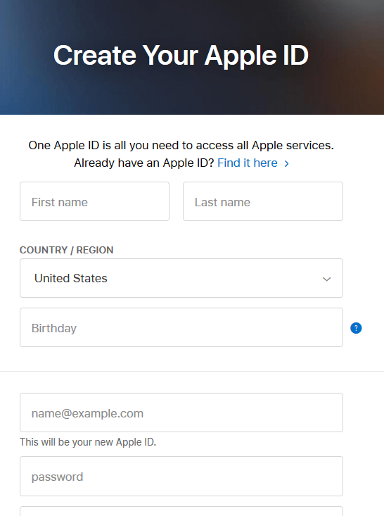 Fill The Details in Apple ID