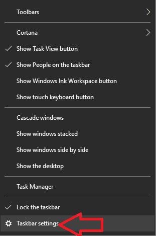 Open Taskbar Setting
